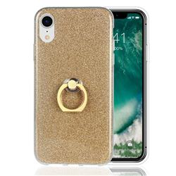 Luxury Soft TPU Glitter Back Ring Cover with 360 Rotate Finger Holder Buckle for iPhone Xr (6.1 inch) - Golden