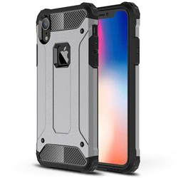 King Kong Armor Premium Shockproof Dual Layer Rugged Hard Cover for iPhone Xr (6.1 inch) - Silver Grey