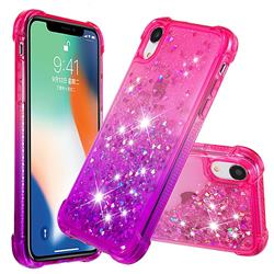 Rainbow Gradient Liquid Glitter Quicksand Sequins Phone Case for iPhone Xr (6.1 inch) - Pink Purple