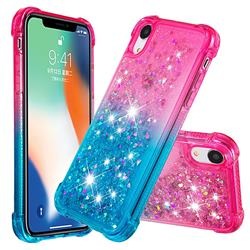 Rainbow Gradient Liquid Glitter Quicksand Sequins Phone Case for iPhone Xr (6.1 inch) - Pink Blue