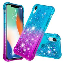 Rainbow Gradient Liquid Glitter Quicksand Sequins Phone Case for iPhone Xr (6.1 inch) - Blue Purple