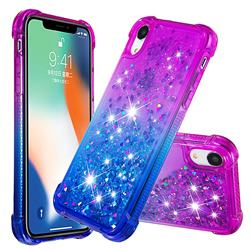 Rainbow Gradient Liquid Glitter Quicksand Sequins Phone Case for iPhone Xr (6.1 inch) - Purple Blue