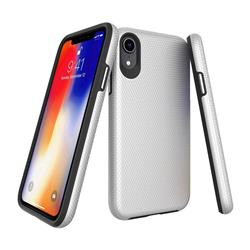 Triangle Texture Shockproof Hybrid Rugged Armor Defender Phone Case for iPhone Xr (6.1 inch) - Silver