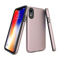 Triangle Texture Shockproof Hybrid Rugged Armor Defender Phone Case for iPhone Xr (6.1 inch) - Rose Gold