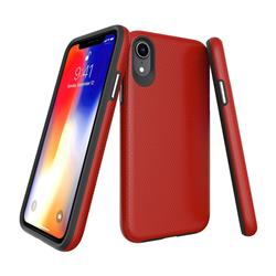 Triangle Texture Shockproof Hybrid Rugged Armor Defender Phone Case for iPhone Xr (6.1 inch) - Red