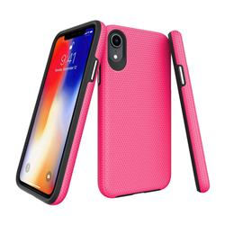 Triangle Texture Shockproof Hybrid Rugged Armor Defender Phone Case for iPhone Xr (6.1 inch) - Rose