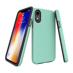 Triangle Texture Shockproof Hybrid Rugged Armor Defender Phone Case for iPhone Xr (6.1 inch) - Mint Green