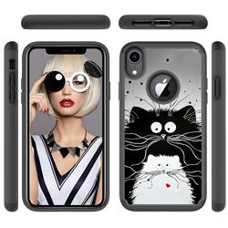 Black and White Cat Shock Absorbing Hybrid Defender Rugged Phone Case Cover for iPhone Xr (6.1 inch)