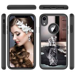 Cat and Tiger Shock Absorbing Hybrid Defender Rugged Phone Case Cover for iPhone Xr (6.1 inch)