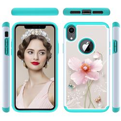 Pearl Flower Shock Absorbing Hybrid Defender Rugged Phone Case Cover for iPhone Xr (6.1 inch)