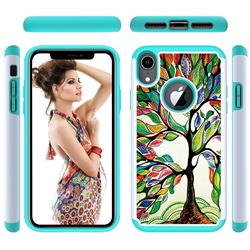 Multicolored Tree Shock Absorbing Hybrid Defender Rugged Phone Case Cover for iPhone Xr (6.1 inch)