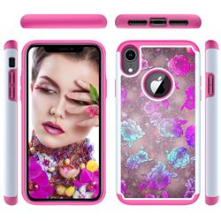 peony Flower Shock Absorbing Hybrid Defender Rugged Phone Case Cover for iPhone Xr (6.1 inch)