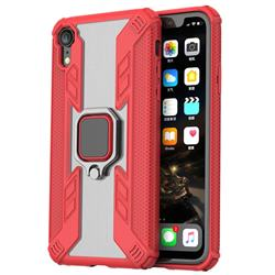 Predator Armor Metal Ring Grip Shockproof Dual Layer Rugged Hard Cover for iPhone Xr (6.1 inch) - Red