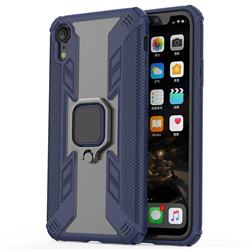 Predator Armor Metal Ring Grip Shockproof Dual Layer Rugged Hard Cover for iPhone Xr (6.1 inch) - Blue
