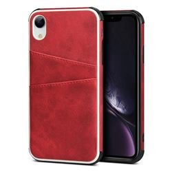 Simple Calf Card Slots Mobile Phone Back Cover for iPhone Xr (6.1 inch) - Red