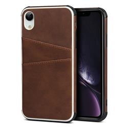 Simple Calf Card Slots Mobile Phone Back Cover for iPhone Xr (6.1 inch) - Coffee