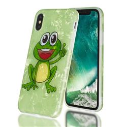 Smile Frog Shell Pattern Clear Bumper Glossy Rubber Silicone Phone Case for iPhone Xr (6.1 inch)