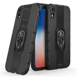 Alita Battle Angel Armor Metal Ring Grip Shockproof Dual Layer Rugged Hard Cover for iPhone Xr (6.1 inch) - Black