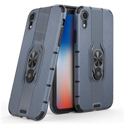 Alita Battle Angel Armor Metal Ring Grip Shockproof Dual Layer Rugged Hard Cover for iPhone Xr (6.1 inch) - Blue