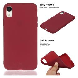 Soft Matte Silicone Phone Cover for iPhone Xr (6.1 inch) - Wine Red