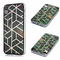 Green Rhombus Galvanized Rose Gold Marble Phone Back Cover for iPhone Xr (6.1 inch)