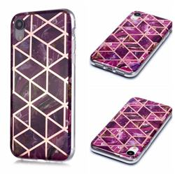 Purple Rhombus Galvanized Rose Gold Marble Phone Back Cover for iPhone Xr (6.1 inch)