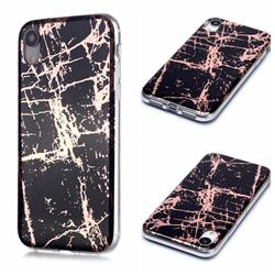 Black Galvanized Rose Gold Marble Phone Back Cover for iPhone Xr (6.1 inch)