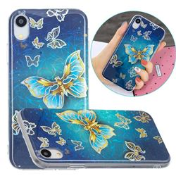 Golden Butterfly Painted Galvanized Electroplating Soft Phone Case Cover for iPhone Xr (6.1 inch)