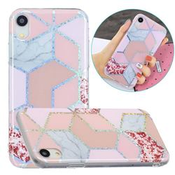 Pink Marble Painted Galvanized Electroplating Soft Phone Case Cover for iPhone Xr (6.1 inch)