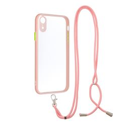 Necklace Cross-body Lanyard Strap Cord Phone Case Cover for iPhone Xr (6.1 inch) - Pink