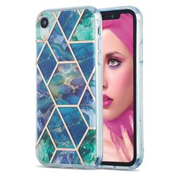 Blue Green Marble Pattern Galvanized Electroplating Protective Case Cover for iPhone Xr (6.1 inch)