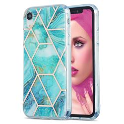 Blue Sea Marble Pattern Galvanized Electroplating Protective Case Cover for iPhone Xr (6.1 inch)