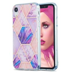 Purple Dream Marble Pattern Galvanized Electroplating Protective Case Cover for iPhone Xr (6.1 inch)