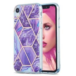 Purple Gagic Marble Pattern Galvanized Electroplating Protective Case Cover for iPhone Xr (6.1 inch)