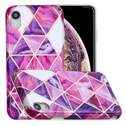 Purple Dream Triangle Painted Marble Electroplating Protective Case for iPhone Xr (6.1 inch)