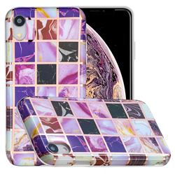 Square Puzzle Painted Marble Electroplating Protective Case for iPhone Xr (6.1 inch)