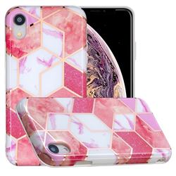 Cherry Glitter Painted Marble Electroplating Protective Case for iPhone Xr (6.1 inch)