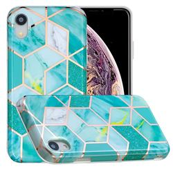 Green Glitter Painted Marble Electroplating Protective Case for iPhone Xr (6.1 inch)