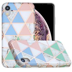 Fresh Triangle Painted Marble Electroplating Protective Case for iPhone Xr (6.1 inch)