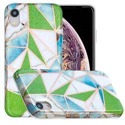 Green Triangle Painted Marble Electroplating Protective Case for iPhone Xr (6.1 inch)