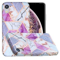 Purple and White Painted Marble Electroplating Protective Case for iPhone Xr (6.1 inch)