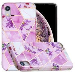 Purple Flower Painted Marble Electroplating Protective Case for iPhone Xr (6.1 inch)