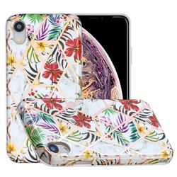 Tropical Rainforest Flower Painted Marble Electroplating Protective Case for iPhone Xr (6.1 inch)