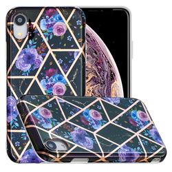 Black Flower Painted Marble Electroplating Protective Case for iPhone Xr (6.1 inch)