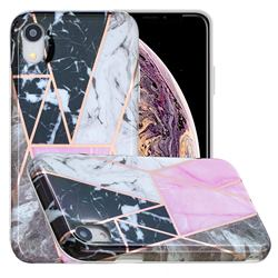 Pink and Black Painted Marble Electroplating Protective Case for iPhone Xr (6.1 inch)