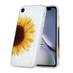 Face Sunflower Shell Pattern Glossy Rubber Silicone Protective Case Cover for iPhone Xr (6.1 inch)