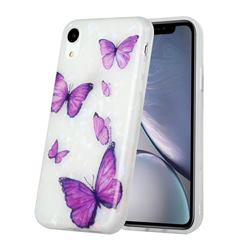 Purple Butterfly Shell Pattern Glossy Rubber Silicone Protective Case Cover for iPhone Xr (6.1 inch)