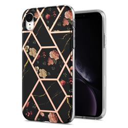 Black Rose Flower Marble Electroplating Protective Case Cover for iPhone Xr (6.1 inch)