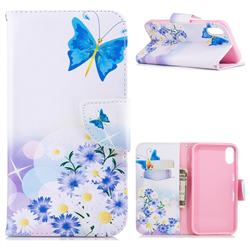 Butterflies Flowers Leather Wallet Case for iPhone Xr (6.1 inch)