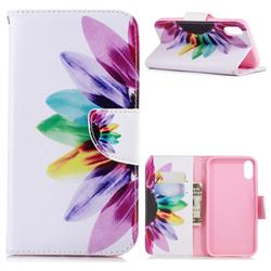Seven-color Flowers Leather Wallet Case for iPhone Xr (6.1 inch)